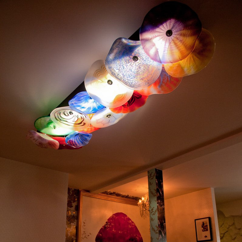 Ceiling lighting installation at the Cartford Inn, Great Eccleston, Lancashire.