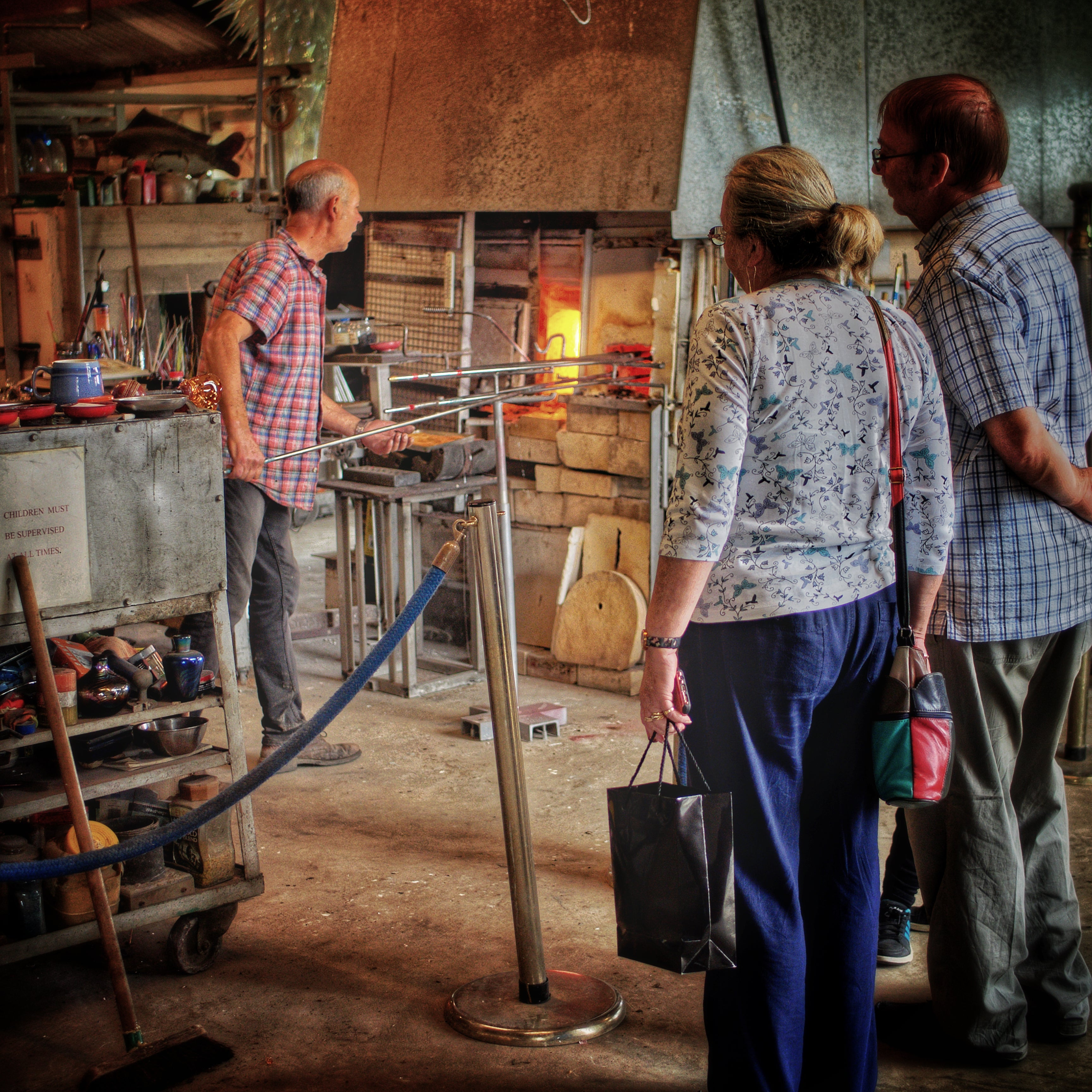 People are welcome to watch the glassblowers at work.