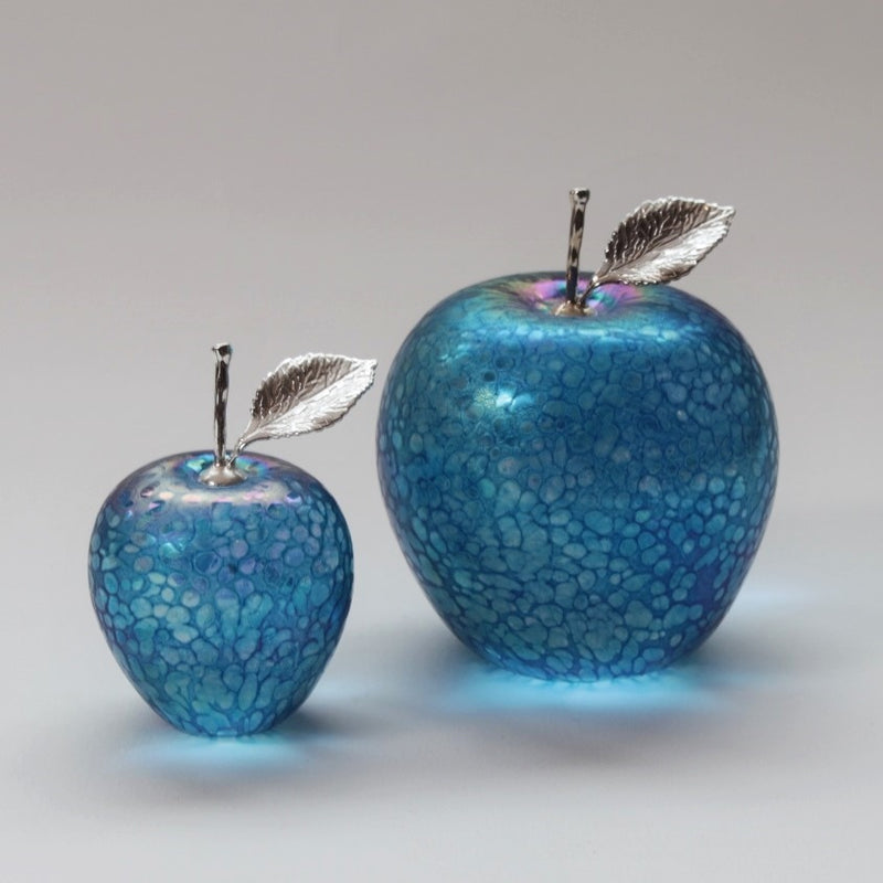 Handmade glass apples with silver stem and leaf in aquamarine