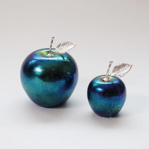 handmade glass apples in dark iridscent with silver stem and leaf