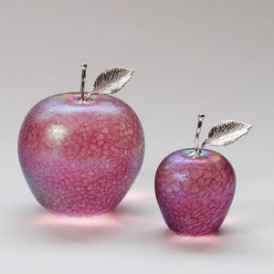 handmade glass apples in iridescent pink with silver sten and leaf