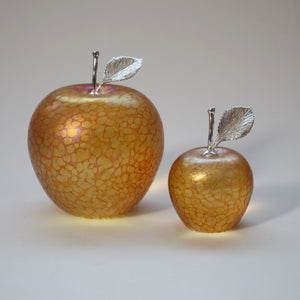 handmade glass apples in gold with silver stem and leaf
