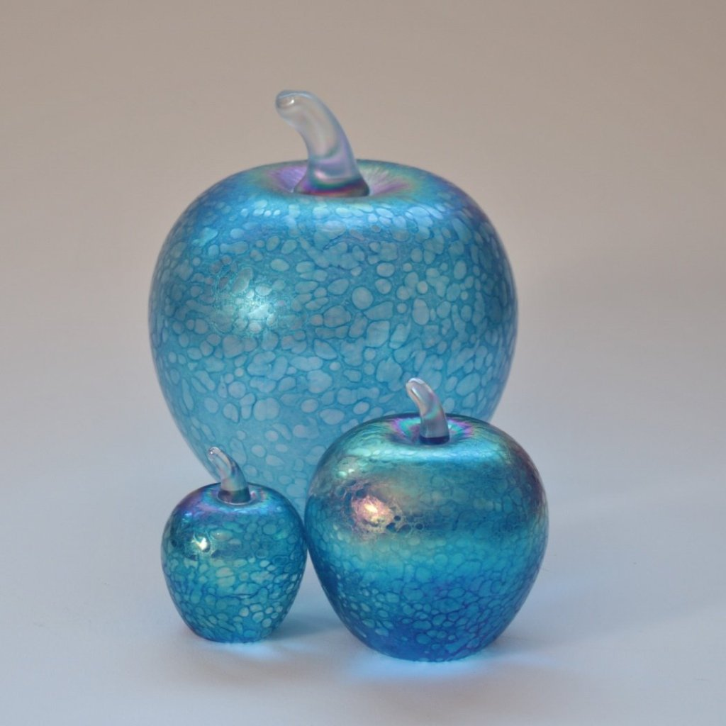 Set of three small, medium and large  iridescent aqumarine handmade glass apples
