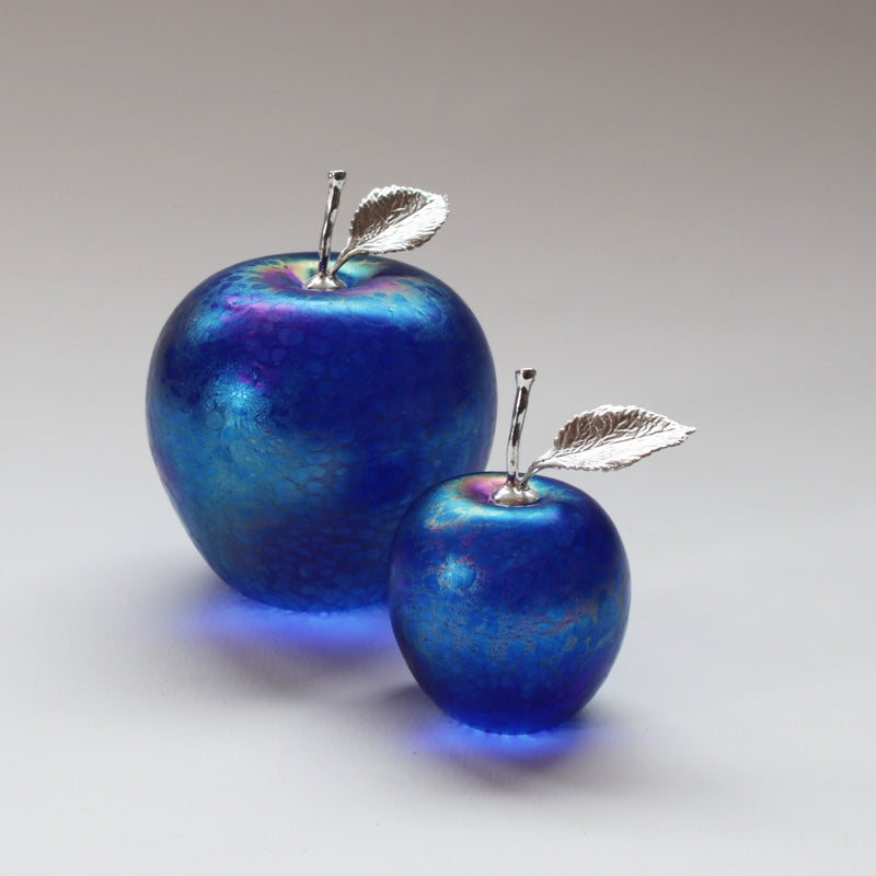 handmade glass apples in cobalt blue with silver stem and leaf