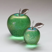 handmade glass apples with silver stem and leaf in iridescent green