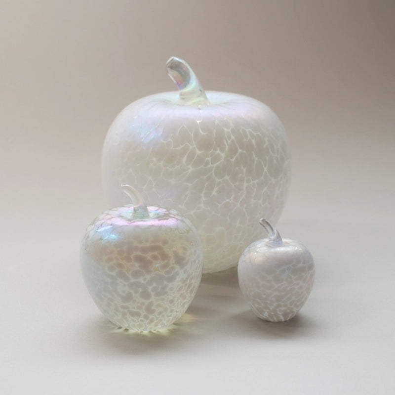 Set of handmade apples in pearl white iridescent