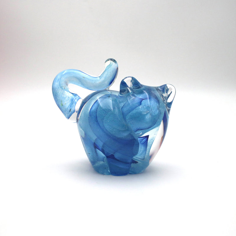 handmade glass cat in blues