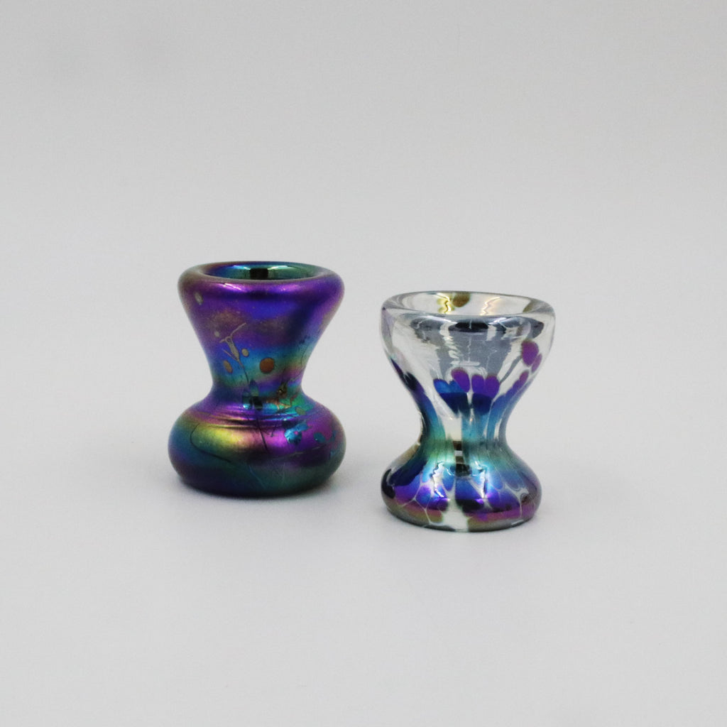 Handmade glass egg cups in iridesent peacsok blues and purples