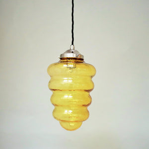 Hand made glass beehive shaped pendant lampshade in transparent gold