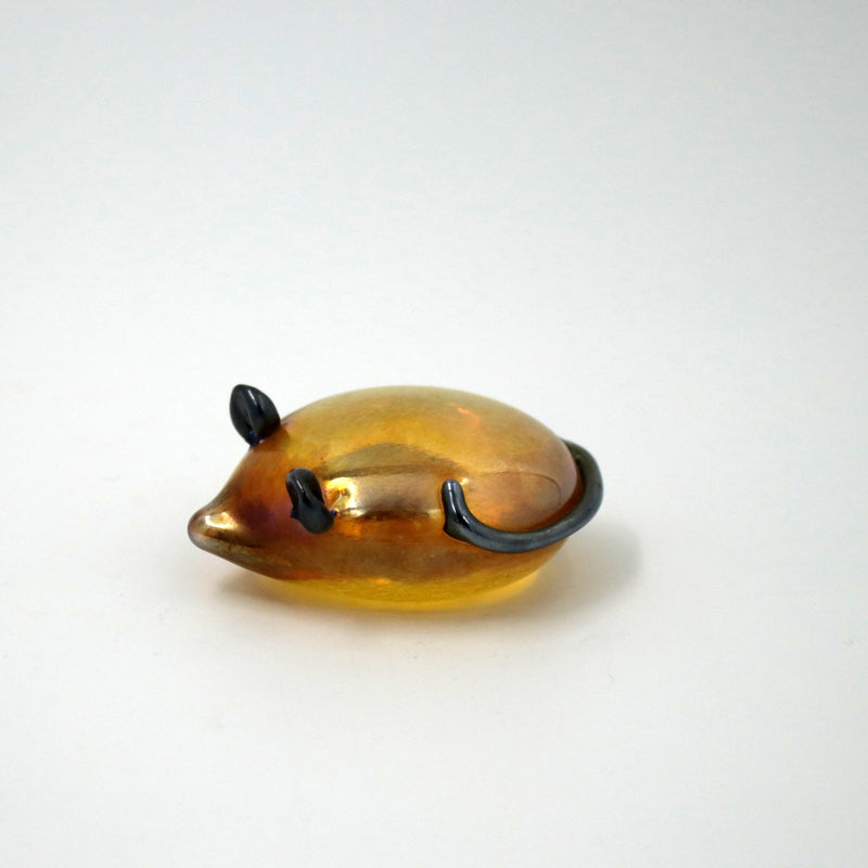 Handmade glass gold iridescent mouse
