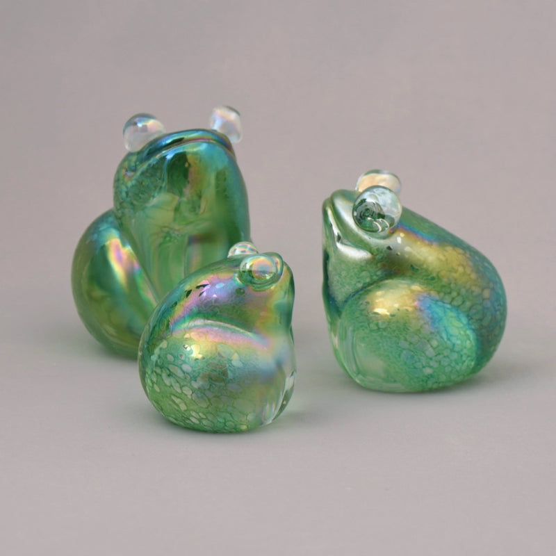 set of three handmade glass frogs in green iridescent