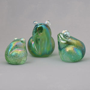 set of three handmade glass frogs in iridescent green