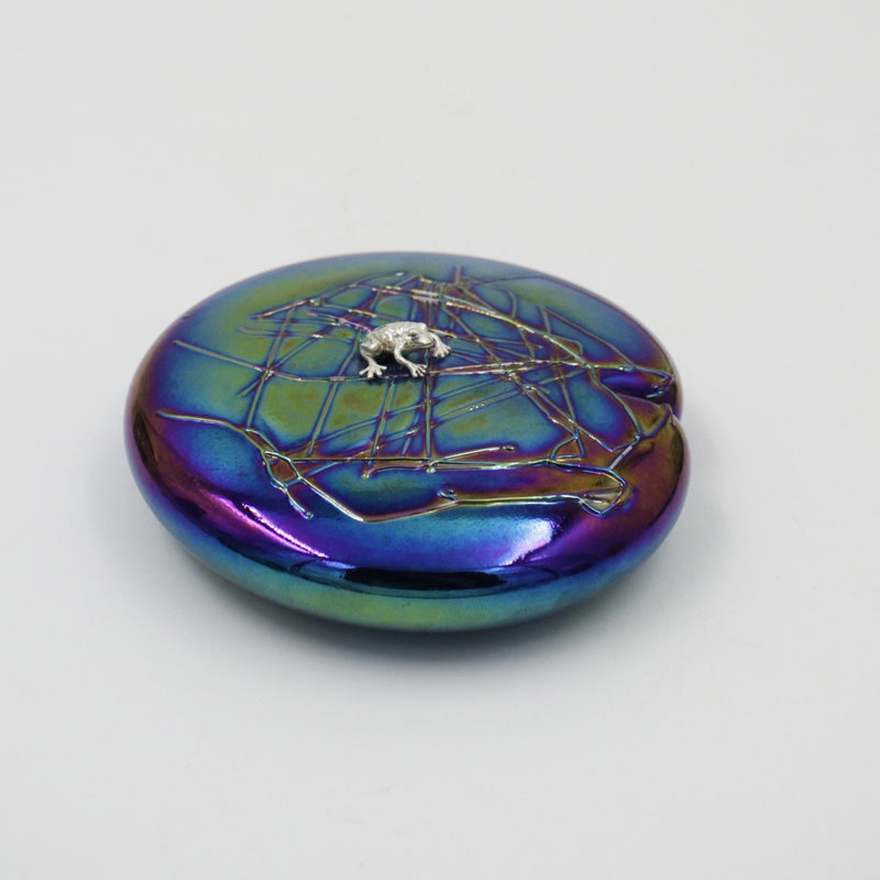 handmade glass lily shaped paperweight in iridescent with sterling silver frog