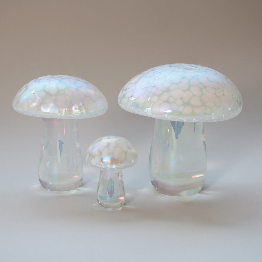 set of three handmade glass mushrooms in pearl white iridescent