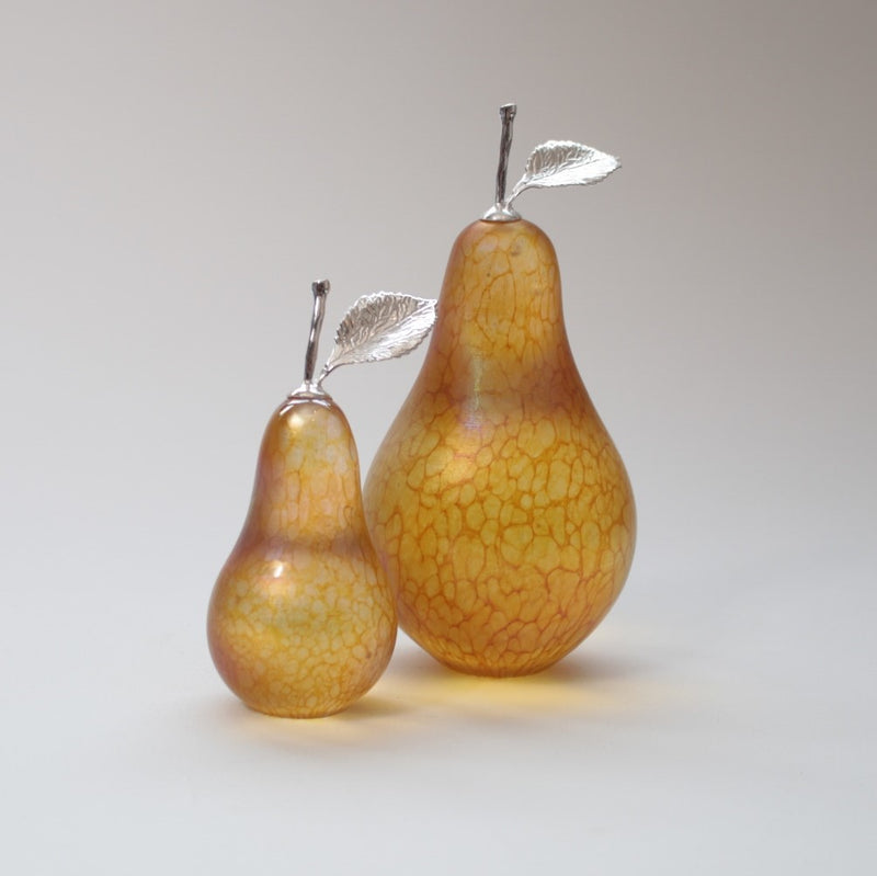 Medium and small sized British handmade iridescent gold glass pears with silver stem and leaf