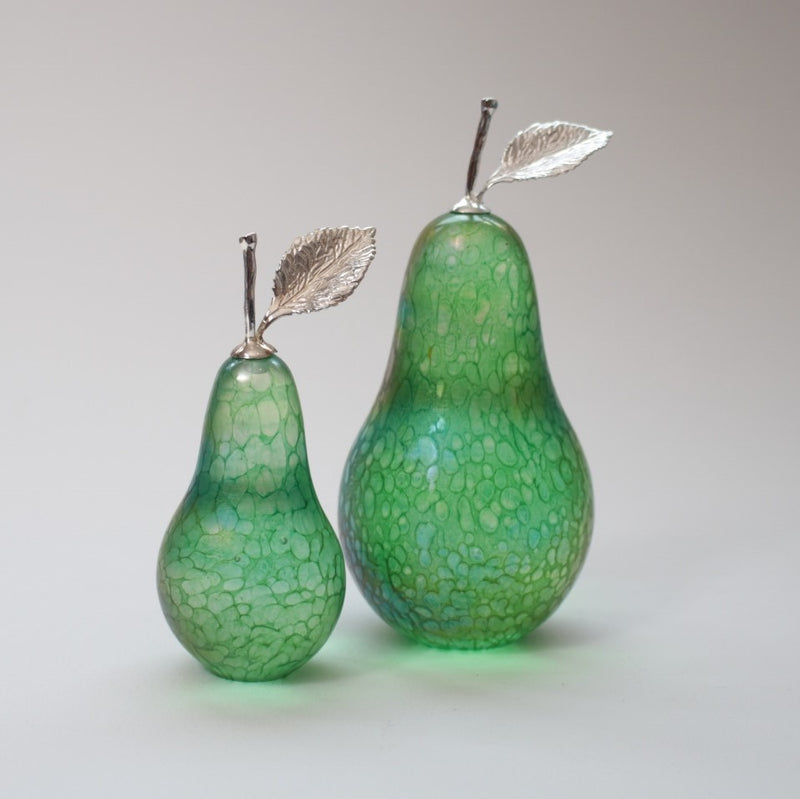 small and medium handmade glass pears in iridescent green with silver stem and leaf