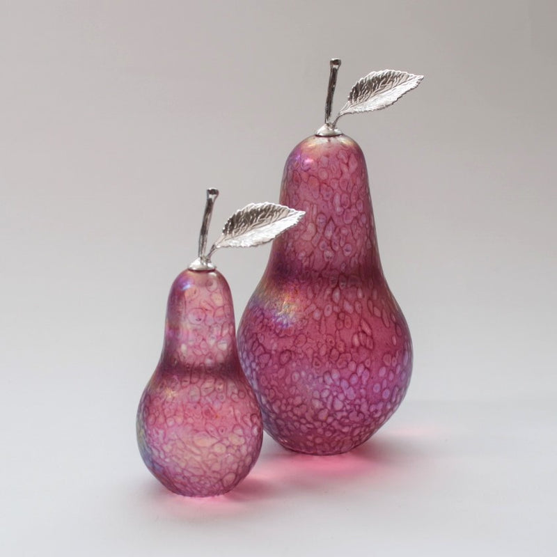 Handmade glass pears in iridescent pink with silver stem and leaf