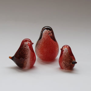 Set of three robin red breast family handmade glass ornaments