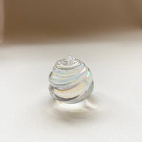 IRIDESCENT CLEAR GLASS SHELL PAPERWEIGHT
