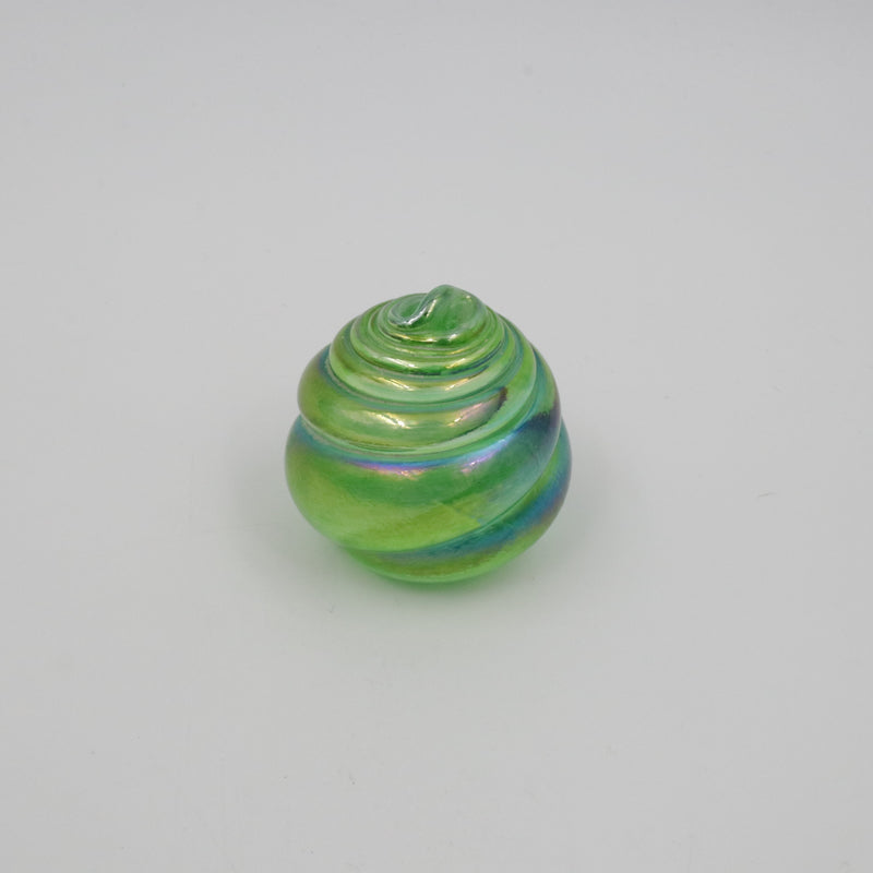 IRIDESCENT GREEN GLASS SHELL PAPERWEIGHT