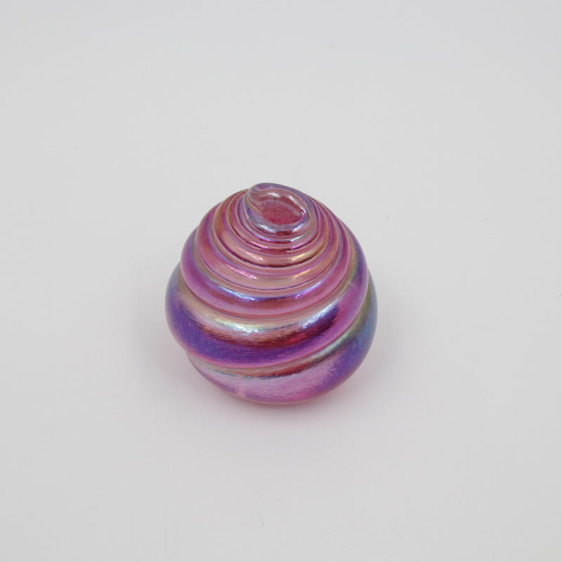 Iridescent pink glass shell paperweight
