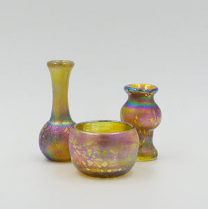 Set of three burnished gold handmade glass vases by John Ditchfield