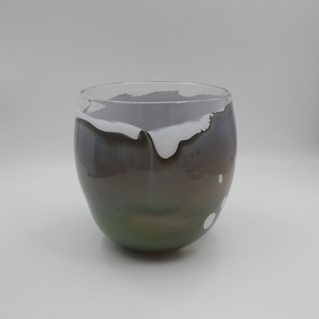 Handmade glass bowl in greens browns and wh