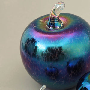 close of handmade glass apple