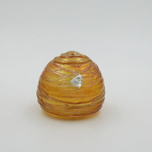 Glass skep beehive shaped paperweight with sterling silver bee