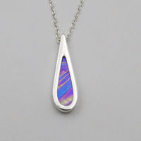 sterling silver teardrop pendant with iridescent glass insert