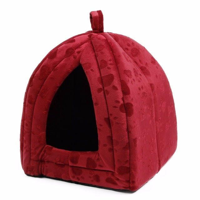 Wholesale Price Cat House and Pet Beds 5 Colors Beige and Red Purple, Khaki, Black with Paw Stripe, White with Paw Stripe