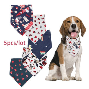 5 pcs Dog Bandana