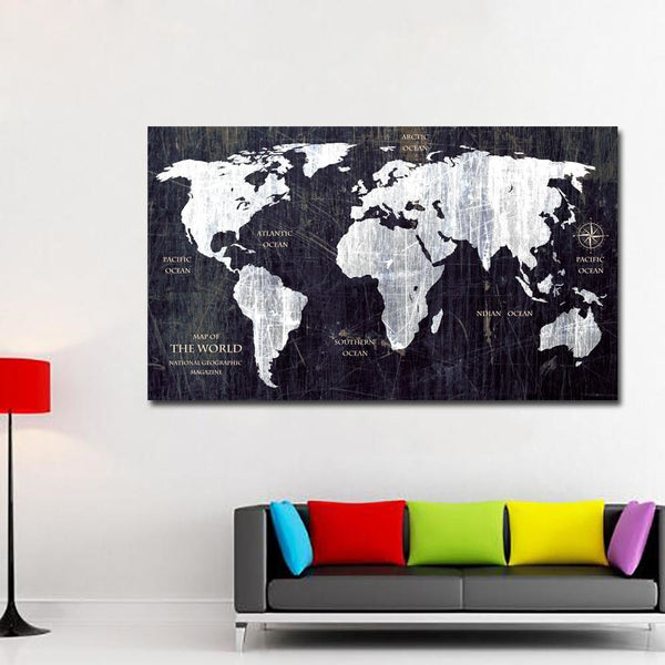 Blackboard Map Canvas Art Paintings at Trendy Canvas Art