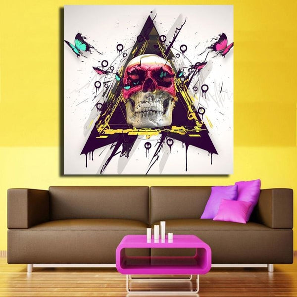 Bone Skulls And Butterflies Canvas Art Paintings at Trendy Canvas Art