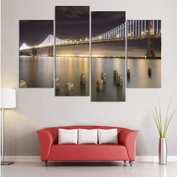 Golden Gate By Night - canvas wall art prints