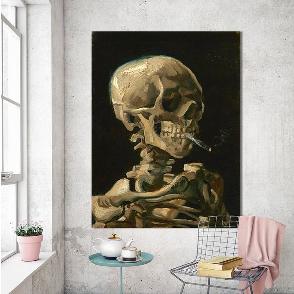 Head Of A Skeleton by Van Gogh - 28x36 / Canvas Print - canvas wall art prints