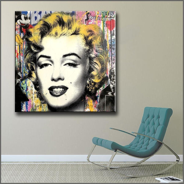 Mickey And Marilyn - canvas wall art prints