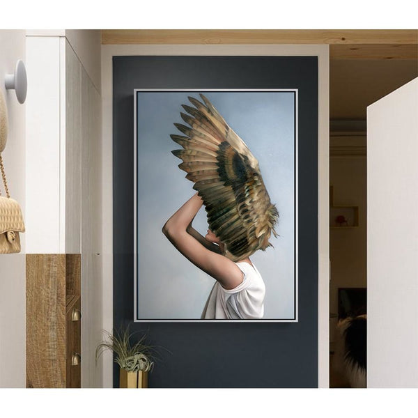 Nordic Bird Girl Canvas Art Paintings at Trendy Canvas Art