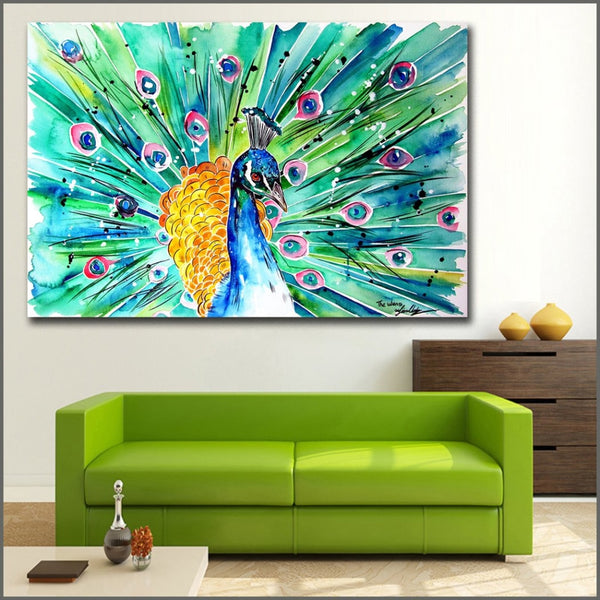 Peacock Pleasure - 24x36 / Canvas Print - canvas wall art prints