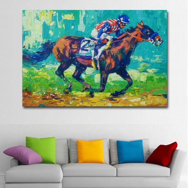 Riding to the Finish - 28x42 / Canvas Print - canvas wall art prints