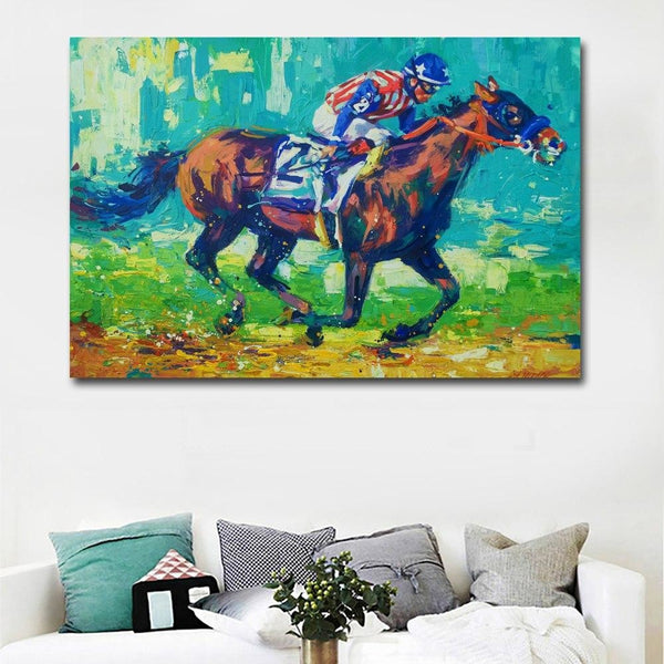 Riding to the Finish - canvas wall art prints