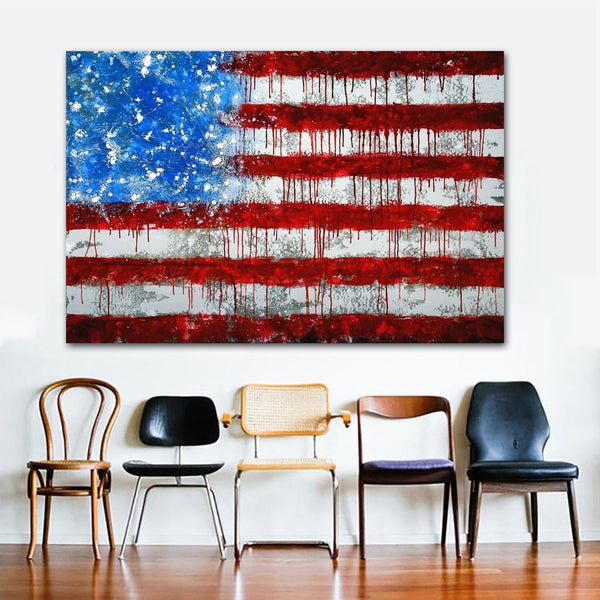 The Dripping Flag - 28x42 / Canvas Print - canvas wall art prints
