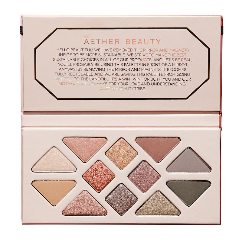 Aether Beauty Rose Quartz Crystal Gemstone eye shadow palette, natural ingredients, vegan and zero waste packaging.