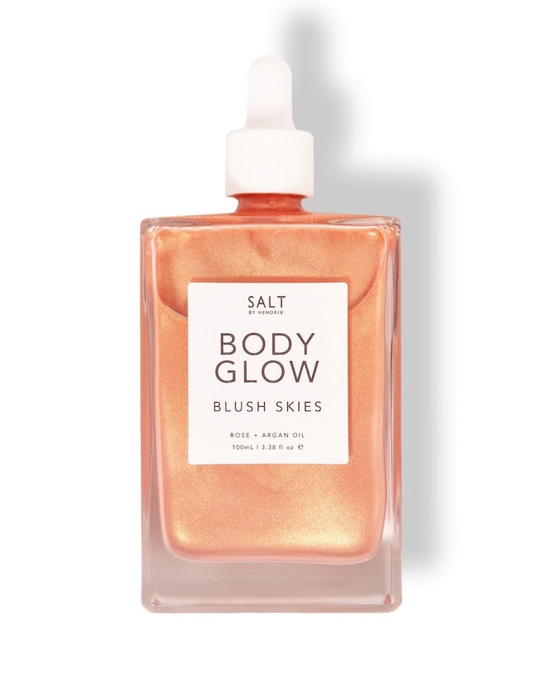 Body Glow by Salt By Hendrix, blush skies bronzing oil for skin shimmer.