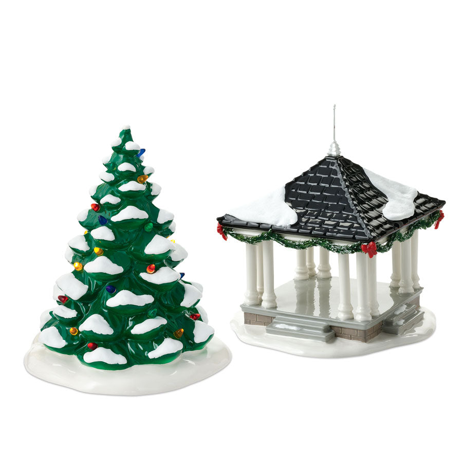Town Square Tree & Gazebo S/2