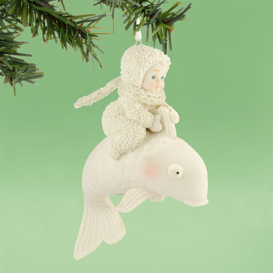Baby Riding The Wave Ornament