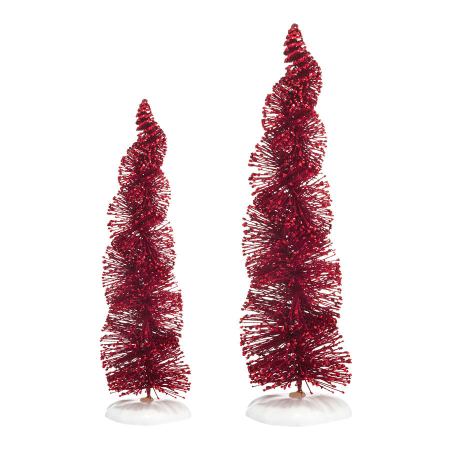 Spiral Ruby Trees, Set of 2