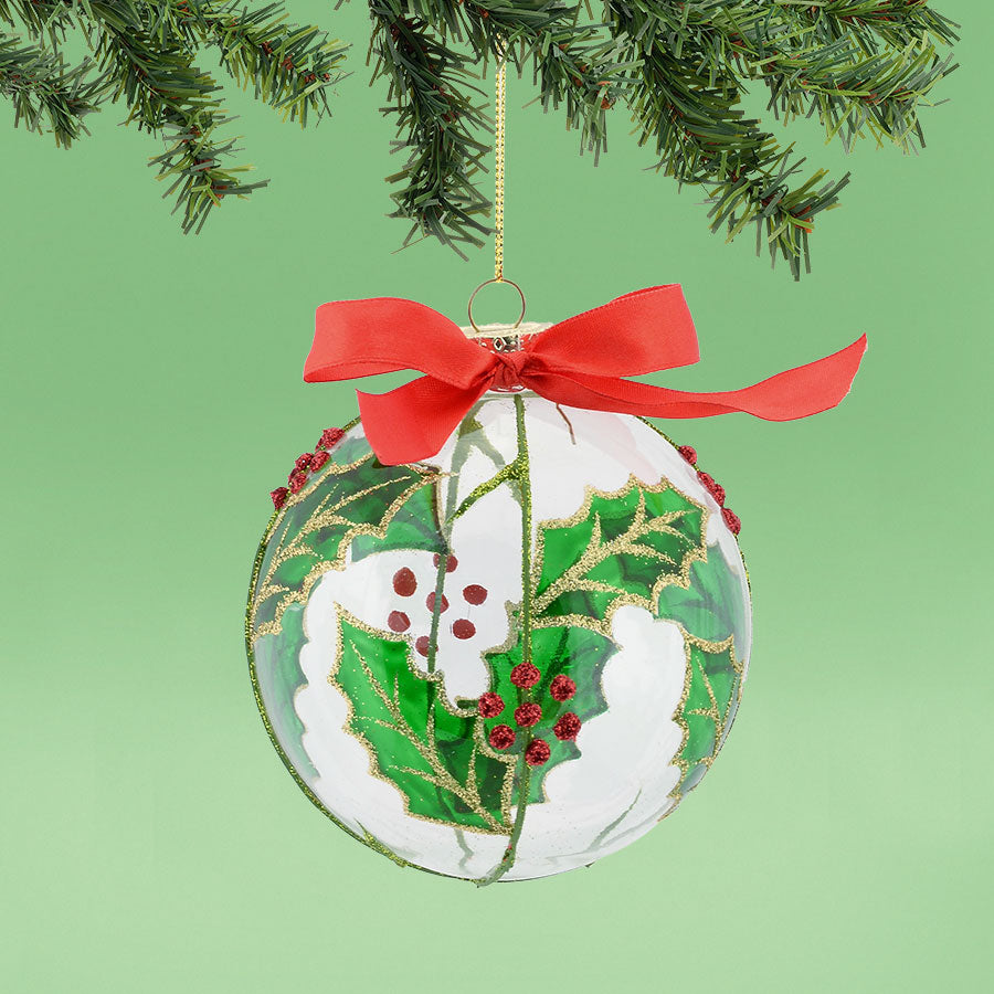 Holly Leaf Ball Ornament