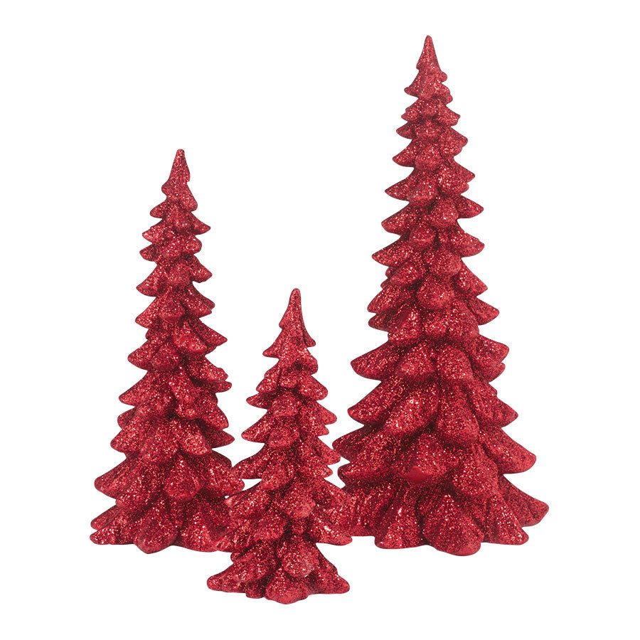 Red Holiday Trees, Set of 3