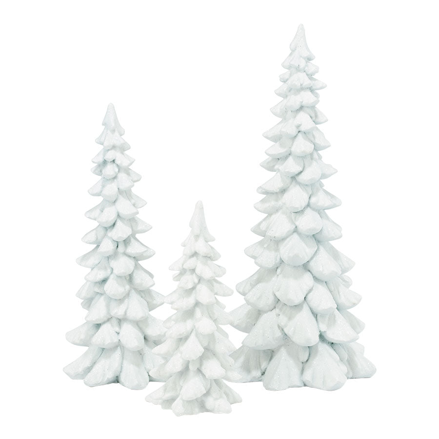 White Holiday Trees, Set of 3